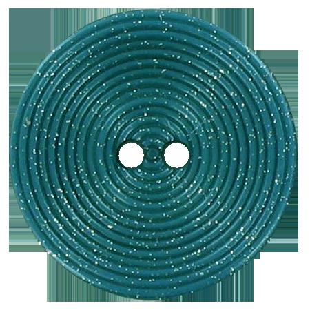 Bouton 2 trous disque pailleté bleu vert - 2,8 cm