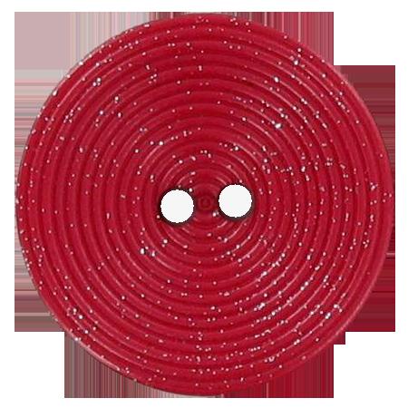 Bouton 2 trous disque pailleté rouge - 2,8 cm