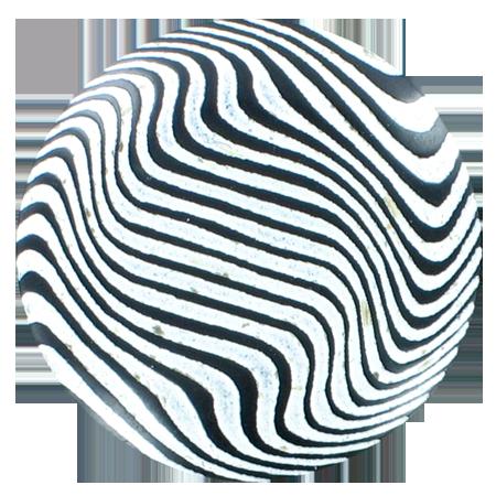Bouton zébrures à queue blanc - 3,4 cm