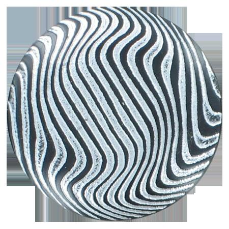 Bouton zébrures à queue argenté - 3,4 cm