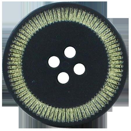 Bouton 4 trous noir doré - 2,5 cm