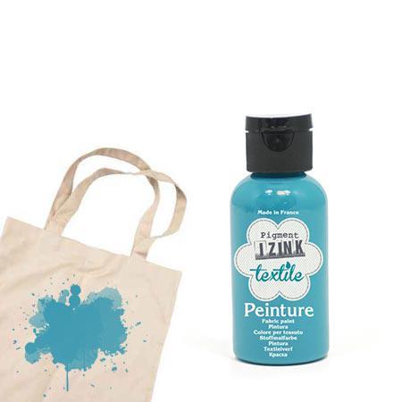 Izink peinture textile - Bleu vert soie - 50 ml