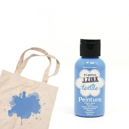 Izink peinture textile - Bleu nacre boutis - 50 ml