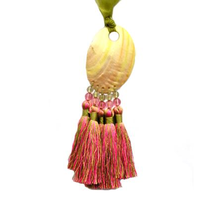 Embrasse nacre 5 pompons - Vert et rose
