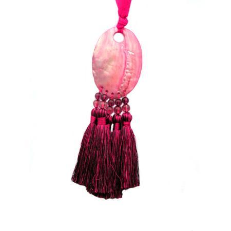 Embrasse nacre 5 pompons - Fuchsia