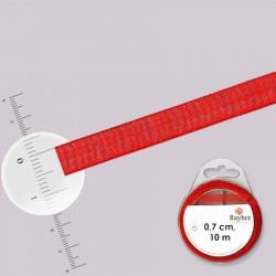 Ruban organdi - rouleau de 10 m x 0,7 cm Rouge