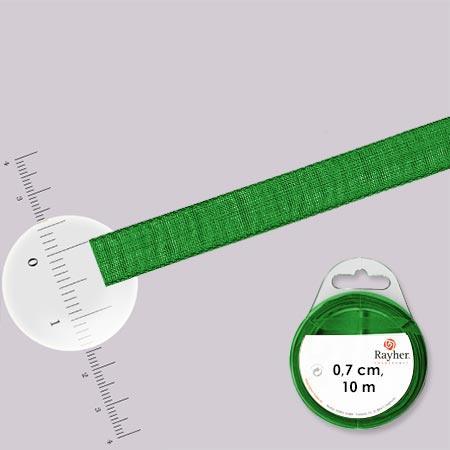 Ruban organdi - rouleau de 10 m x 0,7 cm Vert