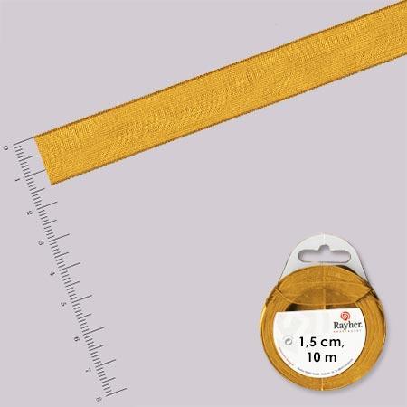 Ruban organdi - rouleau de 10 m x 1,5 cm Or