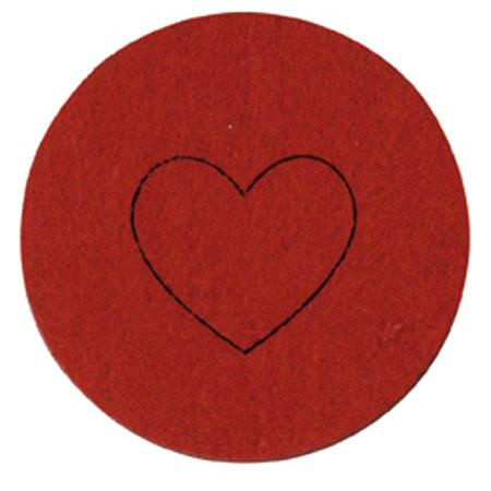 Feutrine - 4 Coeurs - Rouge