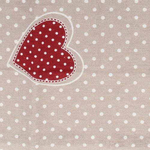 Coupon de Coton - Cœurs Rouges - 30 x 90 cm