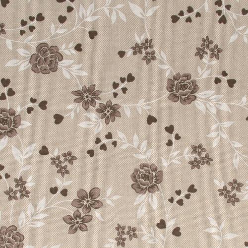 Coupon de Coton - Fleurs Taupe - 30 x 90 cm