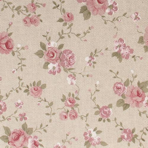 Coupon de Coton - Fleurs Rose - 30 x 90 cm