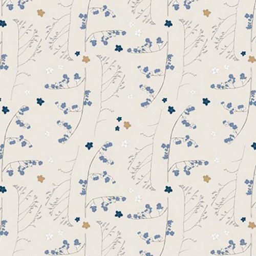Coupon de tissu - Fleurs sauvages - Gris et or - 50 x 140 cm