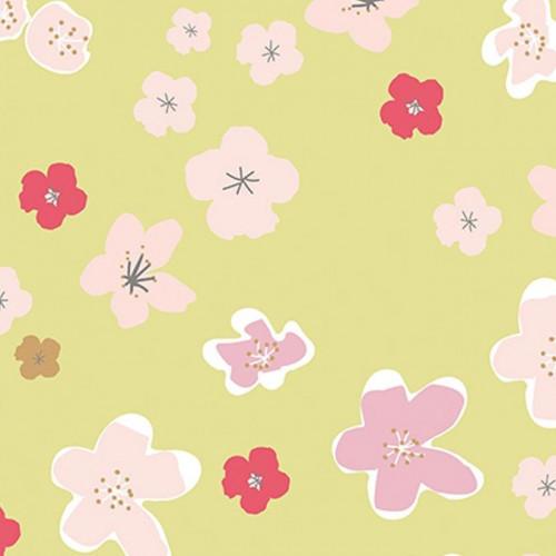 Coupon de tissu - Grandes fleurs - Vert et or - 50 x 140 cm