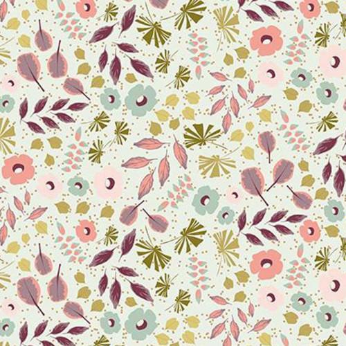 Coupon de tissu - Fleurs et feuillage - Menthe et or - 50 x 140 cm
