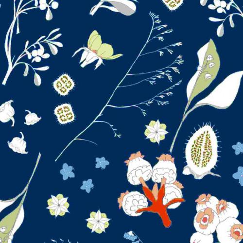 Coupon de tissu - Fleurs sauvages - Bleu - 50 x 140 cm