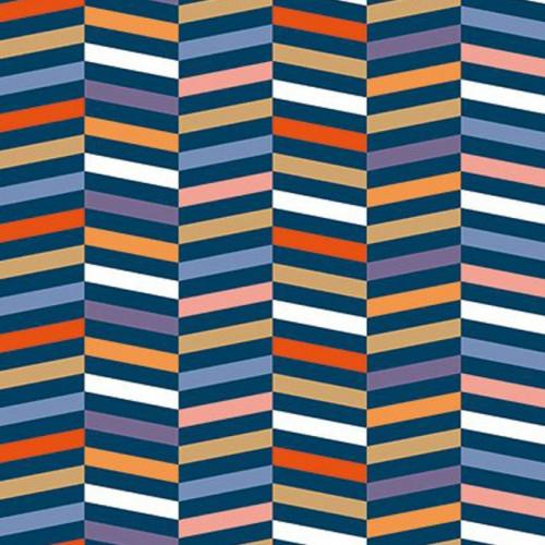 Coupon de tissu - Rayures - Multicolore et or - 50 x 140 cm