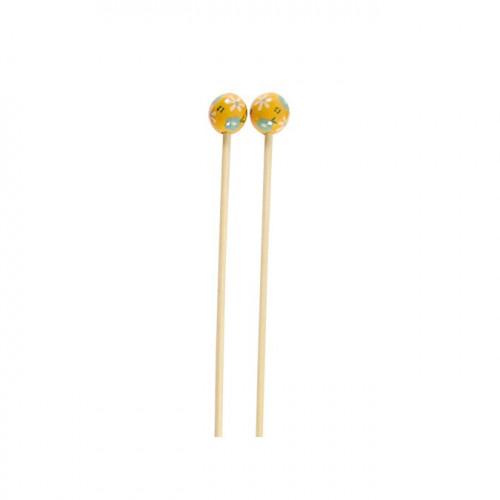 Aiguilles à tricoter en bambou - N° 3 - jaune