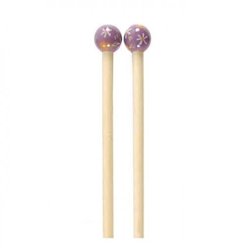 Aiguilles à tricoter en bambou - N° 8 - fuchsia