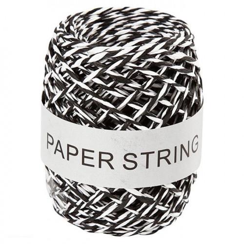 Ficelle de papier bicolore - noir / blanc - 1 mm x 50 m