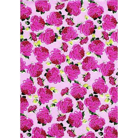 Feuille Décopatch - Roses roses et feuilles - 30 x 40 cm