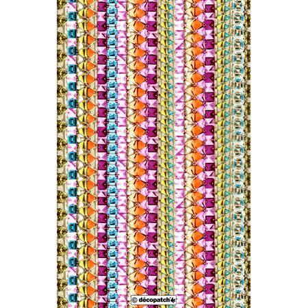 Feuille Décopatch - Strass colorés - 30 x 40 cm