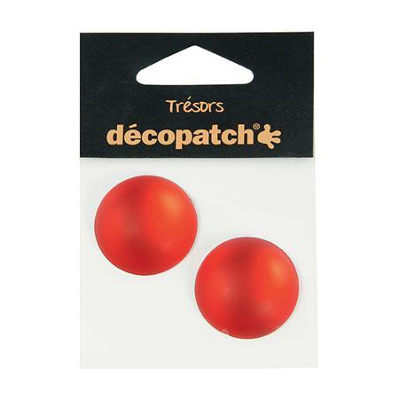Cabochons - 2 ronds - 3 cm - rouge