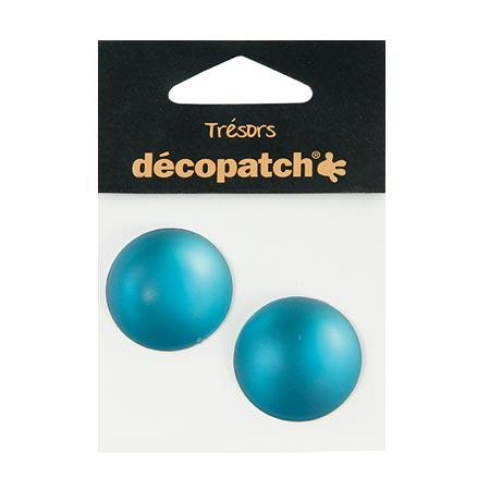 Cabochons - 2 ronds - 3 cm - turquoise