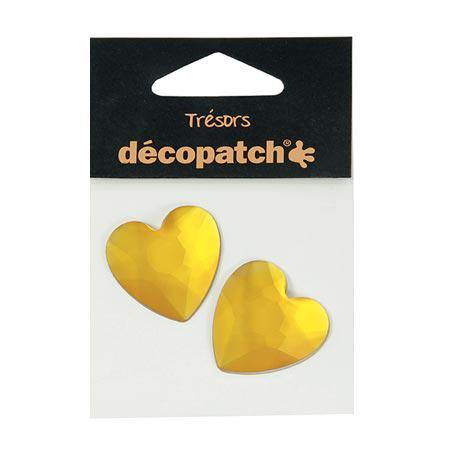 Cabochons - 2 cœurs - jaune - 3 cm