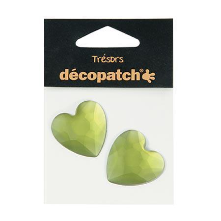 Cabochons - 2 cœurs - vert - 3 cm