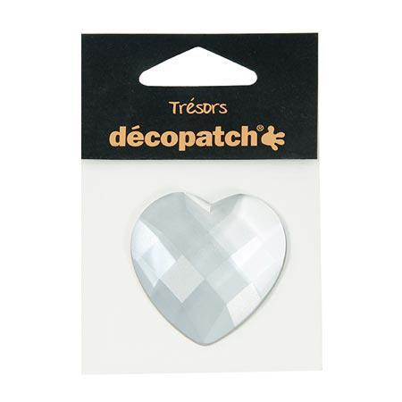 Cabochon - cœur - blanc - 4,5 cm