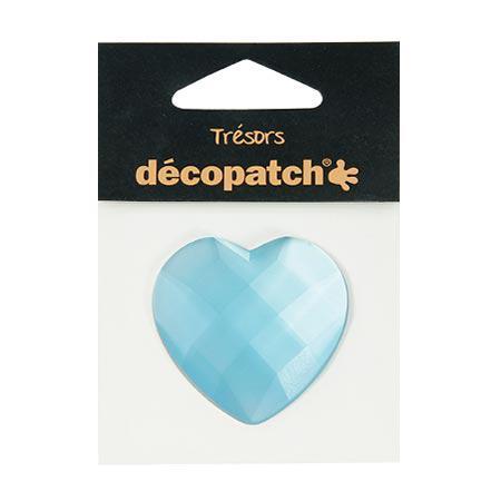 Cabochon - cœur - bleu - 4,5 cm
