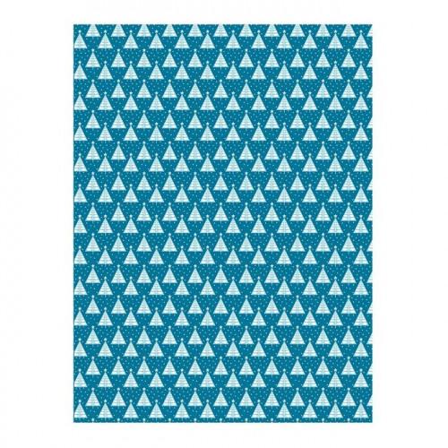 Feuille Décopatch - Sapins/bleu - 30 x 40 cm