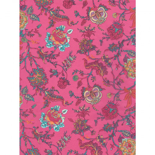 Feuille Décopatch - Fleurs sur fond rose - 711 - 30 x 40 cm