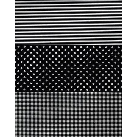 Feuille Décopatch - Pois et rayures noir et blanc - 30 x 40 cm