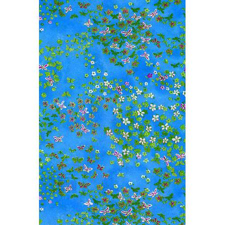 Feuille Décopatch - Mini fleurs et papillons sur fond bleu - 30 x 40 cm