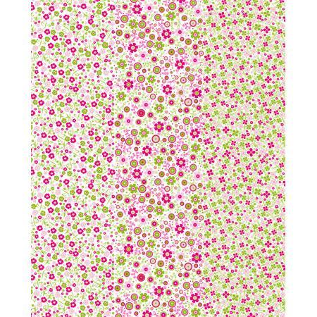Feuille Decopatch - Fleurettes roses - 30 x 40 cm