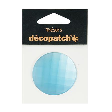 Cabochon - rond - bleu - 4,5 cm