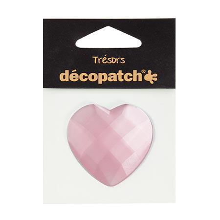 Cabochon - cœur - rose - 4,5 cm