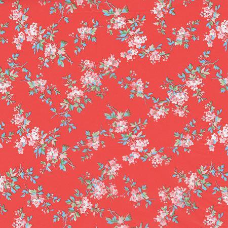 Feuille Décopatch - Fleurs sur fond rouge - 658 - 30 x 40 cm