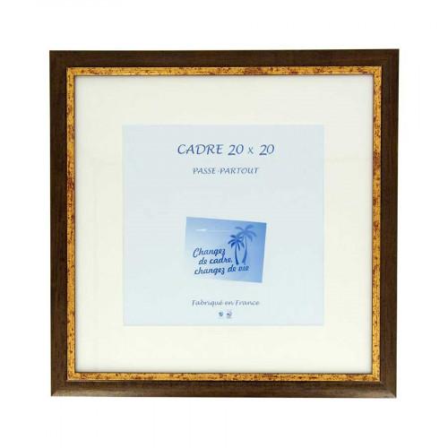 Cadre Loren 20 avec passe-partout - 20 x 20 cm - noyer