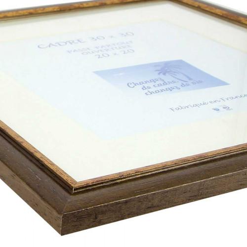 Cadre Loren 20 avec passe-partout - 30 x 30 cm - noyer