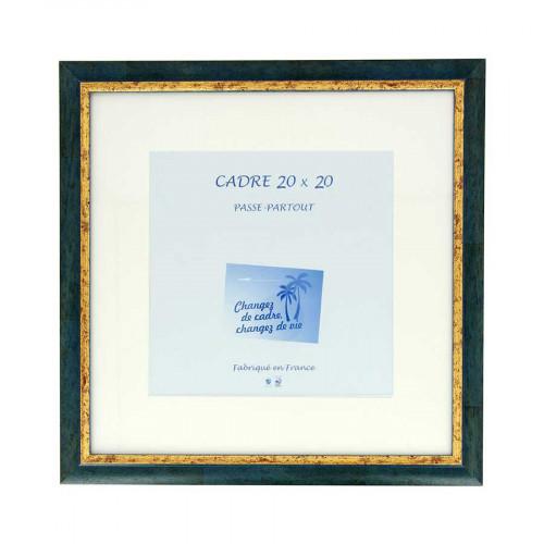 Cadre Loren 20 avec passe-partout - 20 x 20 cm - bleu