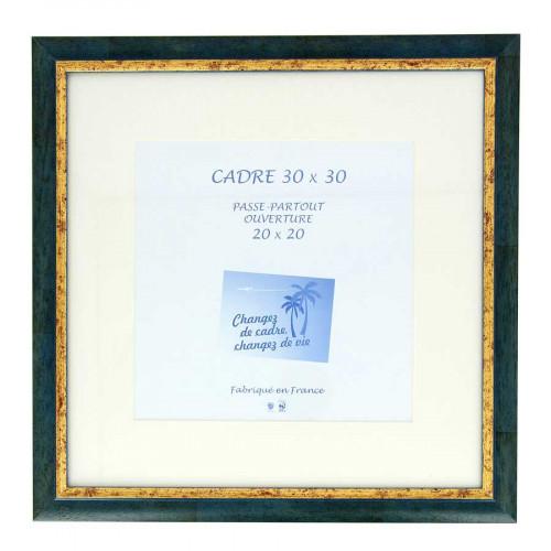 Cadre Loren 20 avec passe-partout - 30 x 30 cm - bleu
