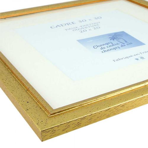 Cadre Loren 20 avec passe-partout - 30 x 30 cm - or