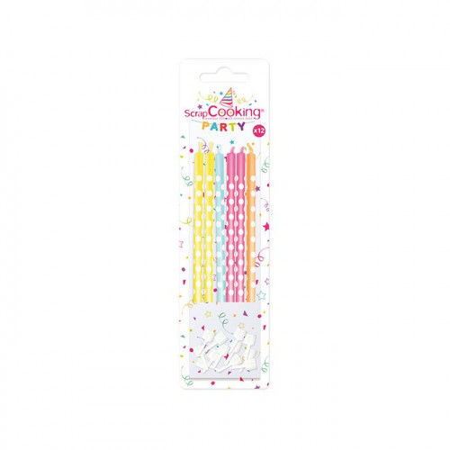 Bougies multicolores/pois blancs - 10 cm - 12 pcs