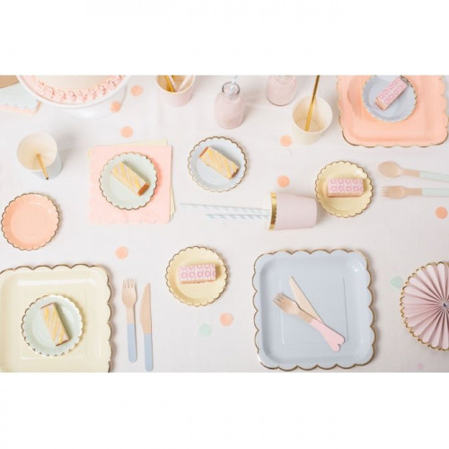 Assiettes en carton - Grand format - Pastel - 8 pcs