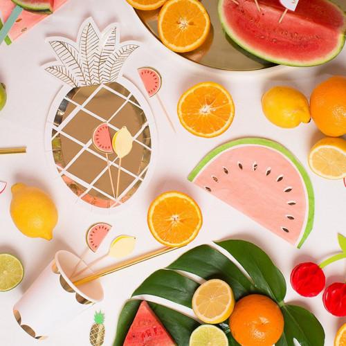Assiettes en carton - Petit format - Ananas - 8 pcs