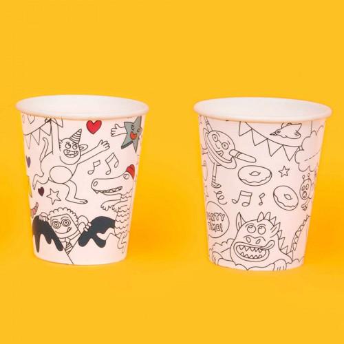 Gobelets en carton à colorier - 8 pcs