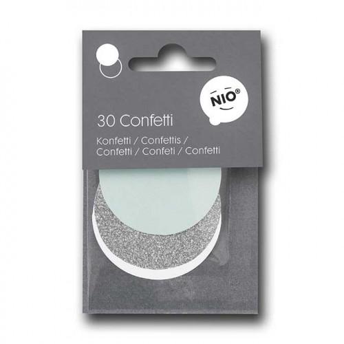 NIO mint - Confetti - menthe/argent - 5 cm - 30 pcs